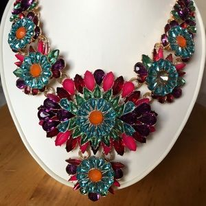 Gemstone Statement Necklace and Matching Earrings